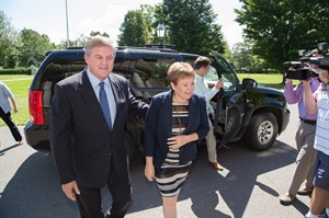 New Brunswick Premier David Alward and his wife Ronda arrive ahead of Alward's meeting with Lt.-Gov. Graydon Nicholas in Fredericton, N.B., on Monday, August 18, 2014. Premier Alward met with Lt. Gov. Nicholas to ask for the legislative assembly to be dissolved ahead of next month's provincial election. THE CANADIAN PRESS/Keith Minchin