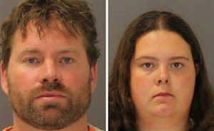 These images provided by the St. Lawrence County Sheriff's Office shows the booking photo of Stephan Howells II, 39, ,left, and Nicole Vaisey, 25, who was arraigned late Friday Aug. 15, 2014 on charges they intended to physically harm or sexually abuse two Amish sisters after abducting them from a roadside farm stand. (AP Photo/St. Lawrence County Sheriff)
