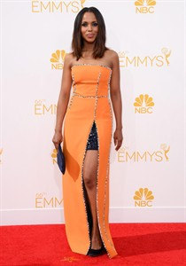 Kerry Washington arrives at the 66th Annual Primetime Emmy Awards at the Nokia Theatre L.A. Live on Monday, Aug. 25, 2014, in Los Angeles. (Photo by Jordan Strauss/Invision/AP)