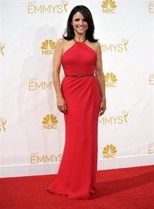 Julia Louis-Dreyfus arrives at the 66th Annual Primetime Emmy Awards at the Nokia Theatre L.A. Live on Monday, Aug. 25, 2014, in Los Angeles. (Photo by Richard Shotwell/Invision/AP)
