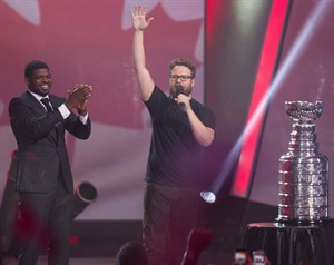 Montreal Canadiens' P.K. Subban left, looks on as Seth Rogen, performs Hilarity for Charity in Montreal. When Lauren Miller Rogen and her funnyman husband Seth Rogen began doing comedy benefits in support of Alzheimer's, they weren't sure how to convey the gravity of the disease while also entertaining audiences. THE CANADIAN PRESS/HO