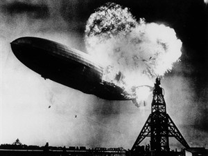 File - This May 6, 1937 file photo, taken at almost the split second that the Hindenburg exploded, shows the 804-foot German zeppelin just before the second and third explosions send the ship crashing to the earth over the Lakehurst Naval Air Station in Lakehurst, N.J. Werner Franz, believed to be the last surviving crew member of the German airship Hindenburg that crashed 77 years ago, has died. He was 92. Luck and quick thinking meant Franz was able to jump out of the Hindenburg as it fell burning to the ground, said historian John Provan, a long-time friend. (AP Photo) B/W ONLY