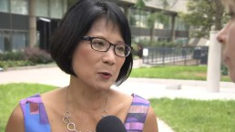 Olivia Chow reacts after Karen Stintz drops out of mayoral race