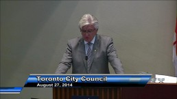 Retiring city manager Joe Pennachetti gives parting advice during emotional speech