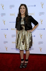 "Mayim Bialik, an Emmy nominee for Outstanding Supporting Actress in a Comedy Series for ""The Big Bang Theory,"" poses at the 66th Emmy Awards Performers Nominee Reception on Saturday, Aug. 23, 2014, in West Hollywood, Calif. (Photo by Chris Pizzello/Invision/AP)"