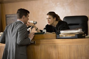 """This image released by NBC shows John Ducey, left, and Kate Walsh in a scene from """"Bad Judge,"""" premiering Oct. 2. (AP Photo/NBC, John Fleenor)"""