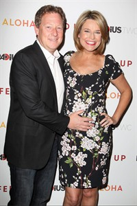 """FILE - This May 6, 2014 file photo released by Starpix shows Michael Feldman, left, and Savannah Guthrie at the premiere """"Fed Up"""", at The Museum of Modern Art in New York. Guthrie gave birth to daughter Vale Guthrie Feldman on Wednesday, Aug. 13, in New York. (AP Photo/Starpix, Amanda Schwab, File)"""
