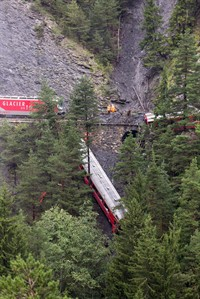 A derailed passenger train is pictured near Tiefencastel, Switzerland, Wednesday, Aug. 13, 2014. A passenger train traveling from St Moritz to Chur in eastern Switzerland has been derailed by a landslide, injuring nearly one dozen passengers, several of them seriously. (AP Photo/Keystone, Arno Balzarini)