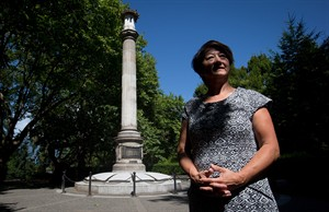 Linda Kawamoto Reid, chair of the Japanese Canadian War Memorial Committee, stands for a photograph at the memorial in Stanley Park in Vancouver, B.C., on Tuesday August 5, 2014. Refurbishments are underway on the First World War cenotaph that honours Japanese-Canadian soldiers, a memorial that stands as both a testament to their patriotism and a reminder of Canada's prejudiced past. THE CANADIAN PRESS/Darryl Dyck