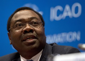 ICAO Council President Olumuyiwa Benard Aliu speaks to the media during a news conference at the International Civil Aviation Organization global safety meeting Wednesday, February 4, 2015 in Montreal. THE CANADIAN PRESS/Ryan Remiorz