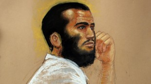 Omar Khadr at a hearing on the Guantanamo Bay U.S. Naval Base in Cuba on April 28, 2010. AFP/GETTY IMAGES/Janet Hamlin