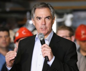 Alberta voters head to the polls Tuesday as Premier Jim Prentice and his Progressive Conservatives seek to stave off challenges from both the NDP and the Wildrose party. Alberta PC leader Prentice is shown speaking during an election campaign stop at a manufacturing plant in Calgary Tuesday, April 28, 2015. THE CANADIAN PRESS/Larry MacDougal