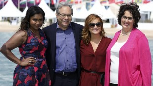 From left, actress Mindy Kaling, comedian Lewis Black, actress Amy Poehler, and actress Phyllis Smith pose for a photograph following an interview with The Associated Press, during the 68th international film festival, Cannes, southern France, Tuesday, May 19, 2015. (AP Photo/Thibault Camus)