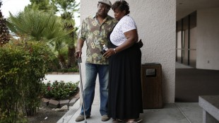 Karen Williams, right, embraces her brother Willie King outside of a funeral home after a private family viewing of their father B.B. King Thursday, May 21, 2015, in Las Vegas. The two, along with other immediate family members, attended a private viewing ahead of Friday's public viewing and Saturday's memorial. King died May 14 in Las Vegas at age 89. (AP Photo/John Locher)