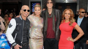 """FILE - In this April 9, 2013 photo, celebrity judges, from left, Howie Mandel, Heidi Klum, Howard Stern and Melanie """"Mel B."""" Brown arrive at the """"America's Got Talent"""" auditions in New York. The 10th season premieres Tuesday, May 26, at 8 p.m. ET. (Photo by Evan Agostini/Invision/AP, File)"""