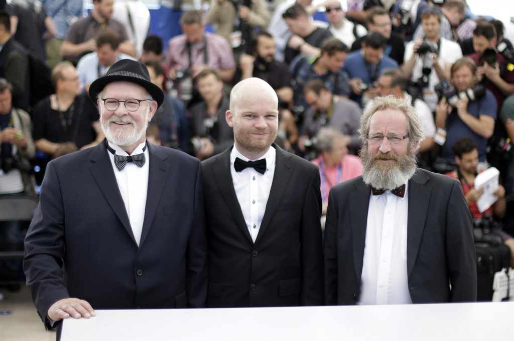 "FILE - In this Friday, May 15, 2015 file photo, actor Theodor Juliusson, left, director Grimur Hakonarson, center, and Sigurdur Sigurjonsson pose for photographers during a photo call for the film Hrutar (Rams), at the 68th international film festival, Cannes, southern France. ""Rams,"" a film about the relationship between farmers and sheep in a remote Icelandic valley, won the Cannes Film Festival's Un Certain Regard competition Saturday, May 23, 2015. (AP Photo/Thibault Camus, File)"