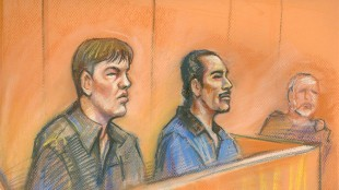 Michael Briscoe, right and Joseph Laboucan appear in court in Edmonton on Jan 22, 2007. The Supreme Court of Canada will not hear an appeal from an Alberta man convicted in the 2005 sex murder of Nina Courtepatte in Edmonton. Michael Briscoe was convicted of kidnapping, sexual assault and first-degree murder in the death of the teen. THE CANADIAN PRESS/HO - Global TV