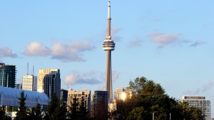 View of CN Tower and downtown Toronto from Ontario Place during sunset on Aug. 5, 2012. THE CANADIAN PRESS IMAGES/Dominic Chan