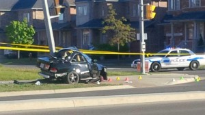 Polic e incvestigate afeter a fatal one-vehicle crash on Saturday, May 23, 2015 in Brampton. (Kris McCusker/680 NEWS)