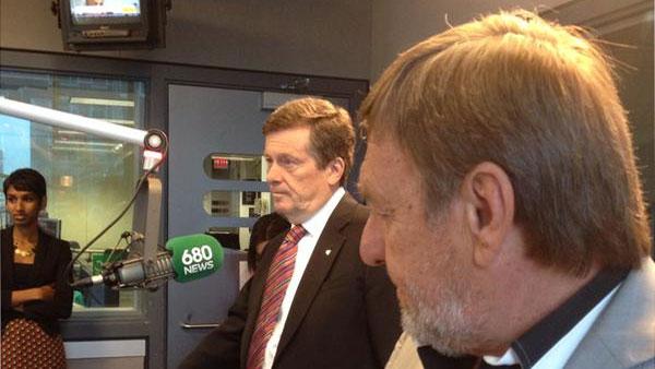Toronto Mayor John Tory speaking live with 680 NEWS political affairs specialist John Stall on June 25, 2015. 680 NEWS/Michael Leach