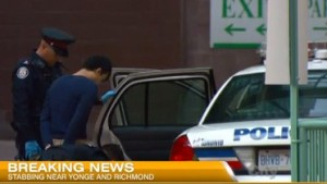 One man was taken into custody following the stabbing at Cambridge Suites Hotel in Toronto on June 3, 2015. CITYNEWS/Bert Dandy