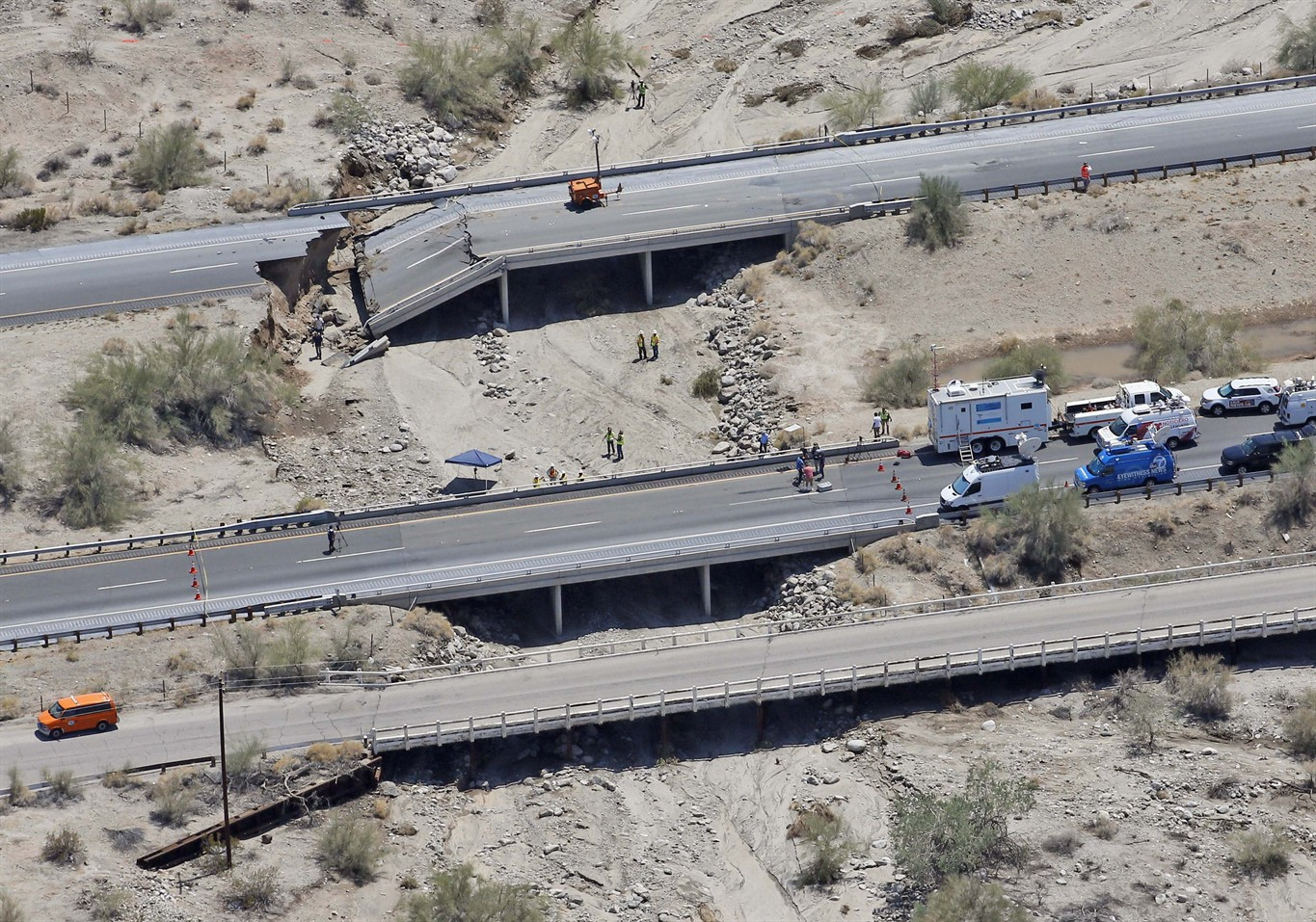 Interstate 10 in California, closed due to bridge washout ...