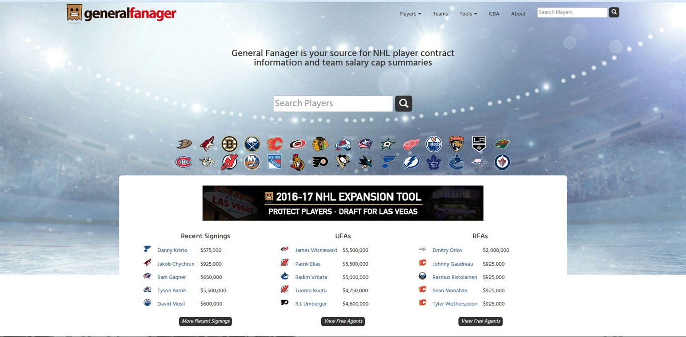 Salary Cap Websites A Popular Tool For Fans Nhl Yet To