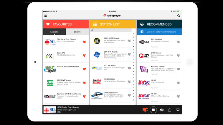 New Radioplayer Canada app streams hundreds of stations