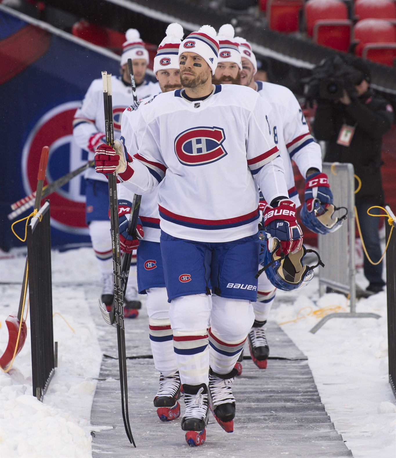 Montreal Canadiens defenceman Shea Weber leads the Montreal Canadiens out  to the ice for an outdoor practice 136c15678