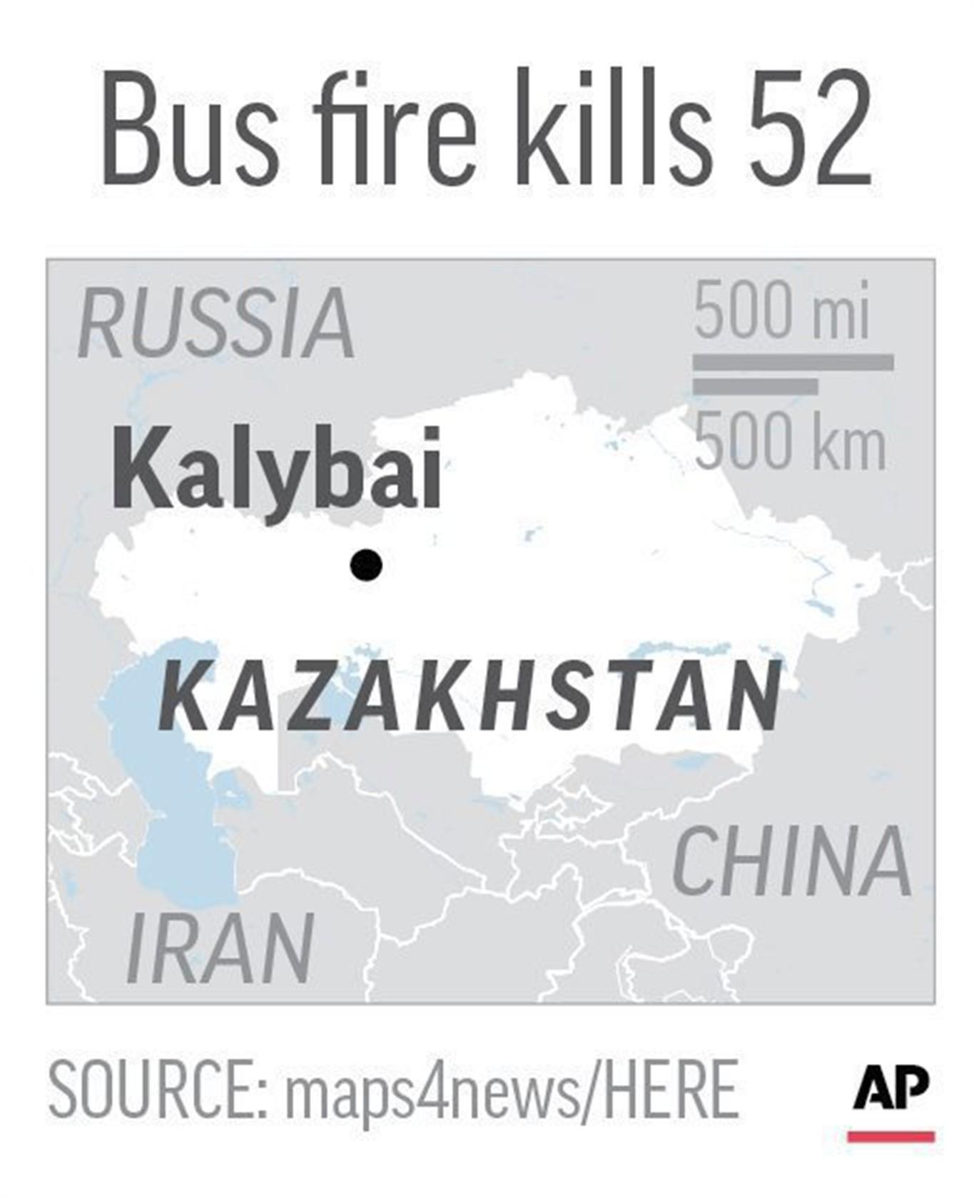 People Die In Bus Fire In Kazakhstan NEWS - Kazakhstan map hd