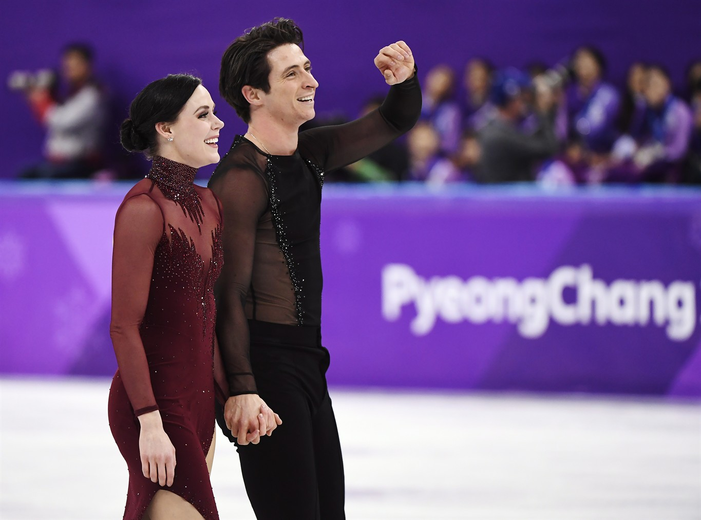 Tessa Virtue And Scott Moir Of Canada React Following The Ice Dance Figure Skating Free Dance At The Pyeongchang Winter Olympics Tuesday February