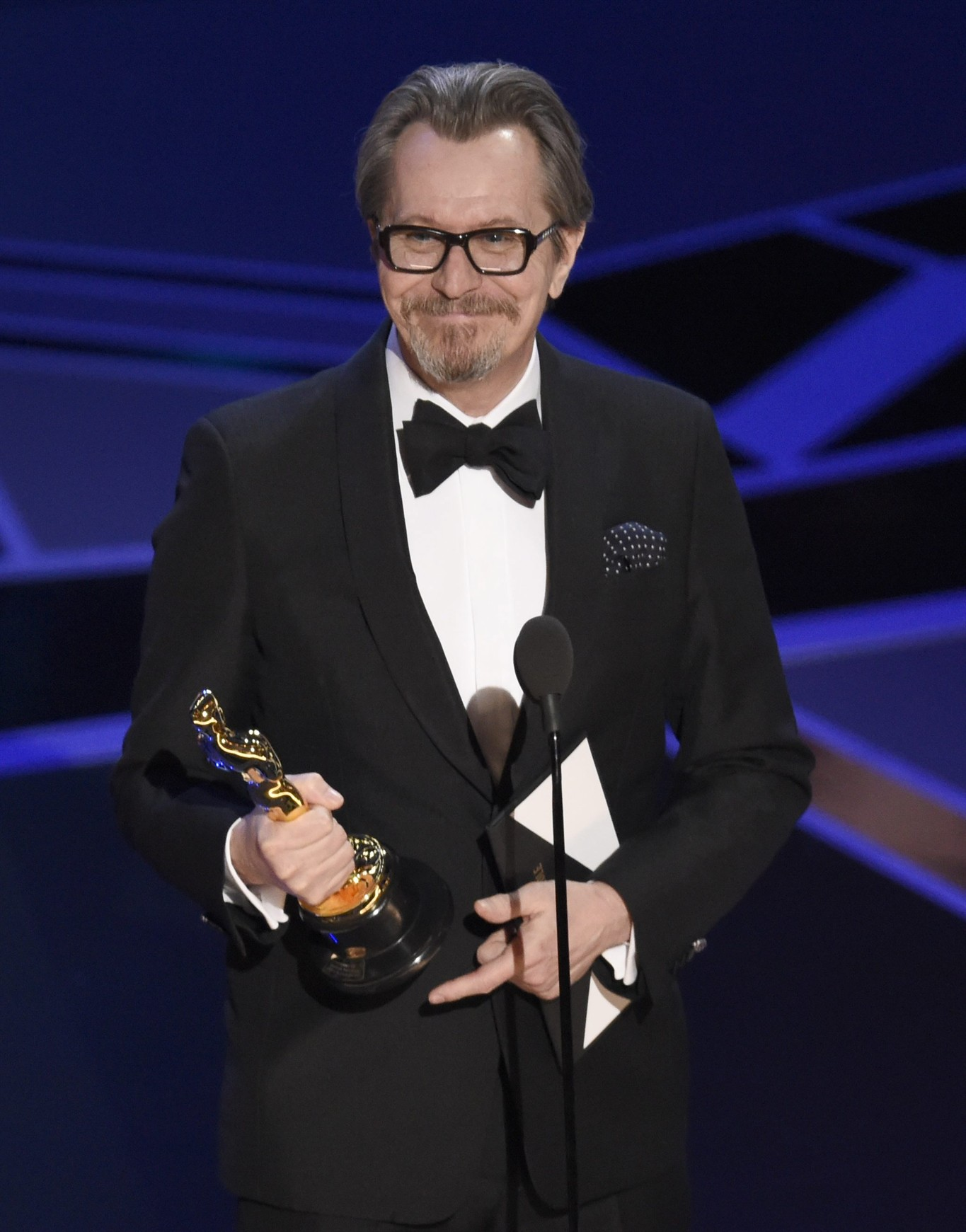 Gary Oldman Accepts The Award For Best Performance By An Actor In A Leading Role For Darkest Hour At The Oscars On Sunday March