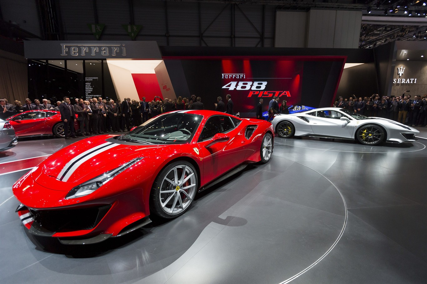 The New Ferrari 488 Pista Is Presented During The Press Day At The 88th  Geneva International Motor Show In Geneva, Switzerland, Tuesday, March 6,  2018.