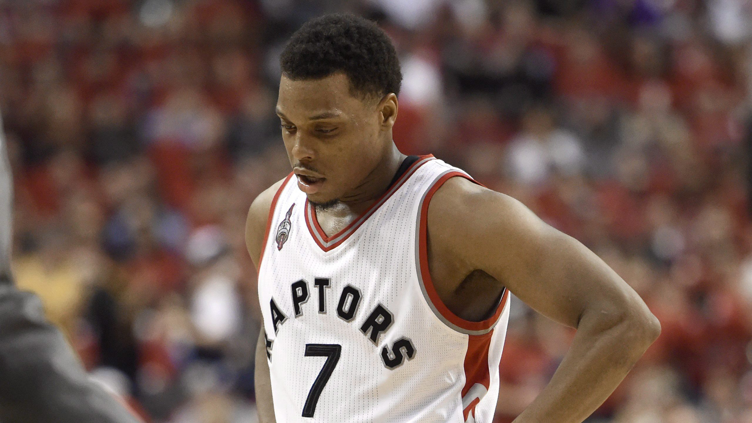 Toronto Raptors Guard Kyle Lowry Leaves The Floor During A Time Out Against Cleveland Cavaliers Fourth Quarter Eastern Conference Final NBA