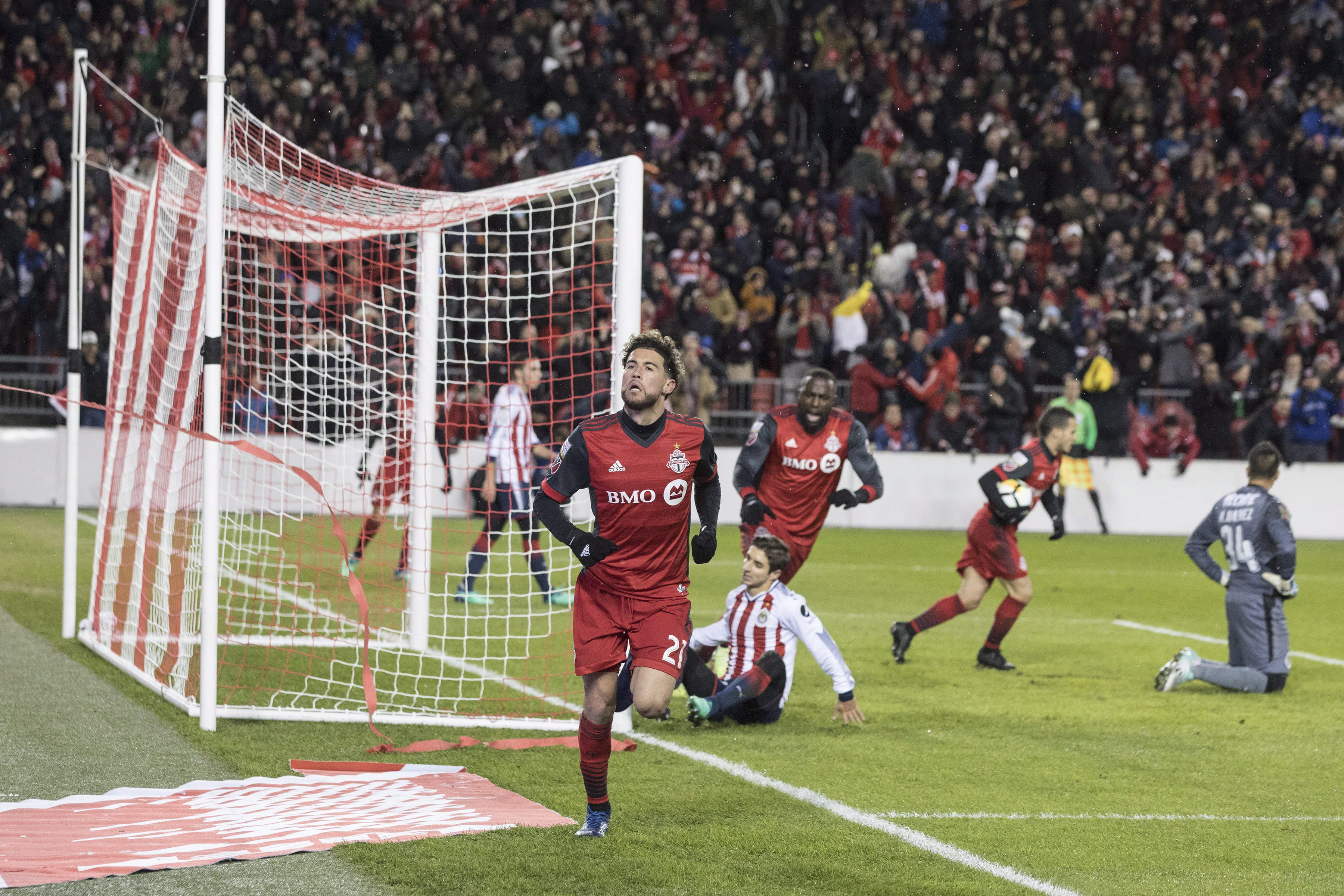 Toronto Fc Midfielder Jonathan Osorio  Celebrates After Scoring His Game Tying Goal During First Half Concacaf Champions League Final First Leg Action