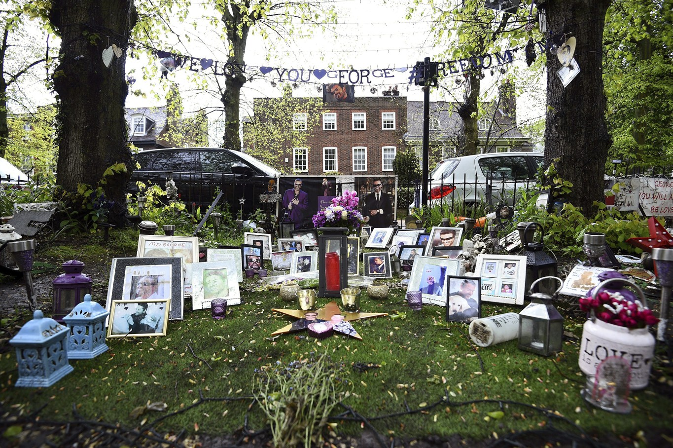 Tributes To George Michael Are Seen Outside His House In Highgate North London Wednesday May 2 2018 S Family Is Asking Fans Remove
