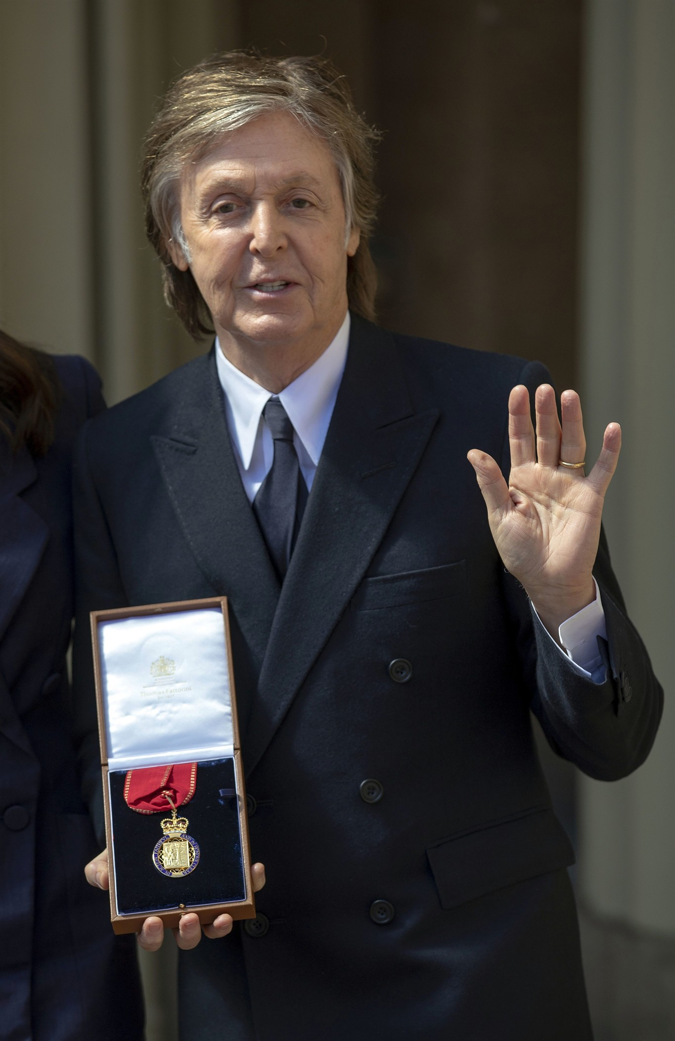 Paul McCartney Pose For The Media Following An Investiture Ceremony At Buckingham Palace London Friday May 4 2018 Where He Was Made A Companion Of