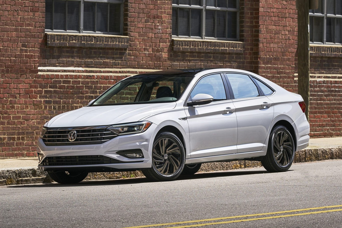 This undated photo provided by Volkswagen shows the 2019 Volkswagen Jetta.  While automakers still offer inexpensive utilitarian trim levels of small  cars, ...