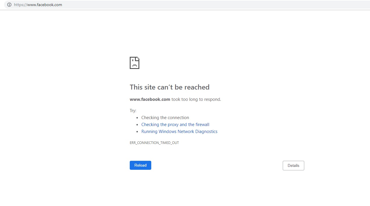A screenshot taken of the Facebook website not loading