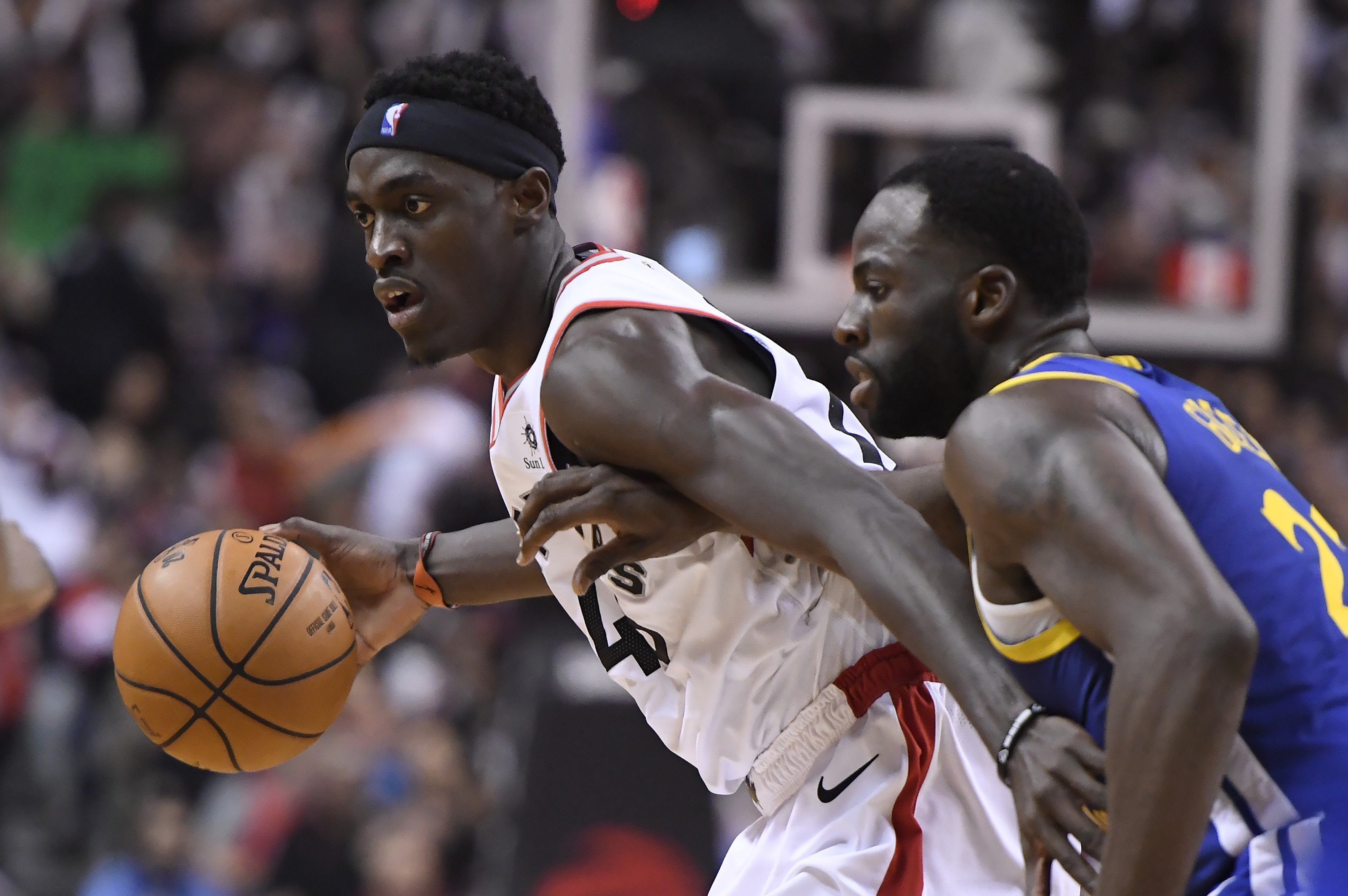 55bdb1cd093 Toronto Raptors forward Pascal Siakam (43) controls the ball as Golden  State Warriors forward Draymond Green (23) defends during second half  basketball ...