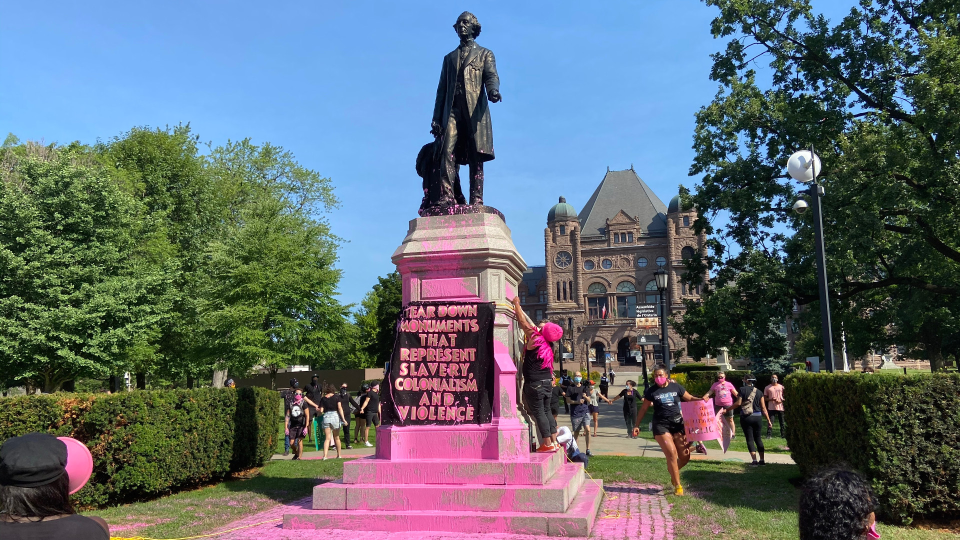 Macdonald statue in Queen's Park vandalized during demonstrations