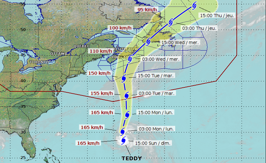 Latest Track Forecast For Hurricane Teddy Has Storm On A Course For Atlantic Canada 680 News
