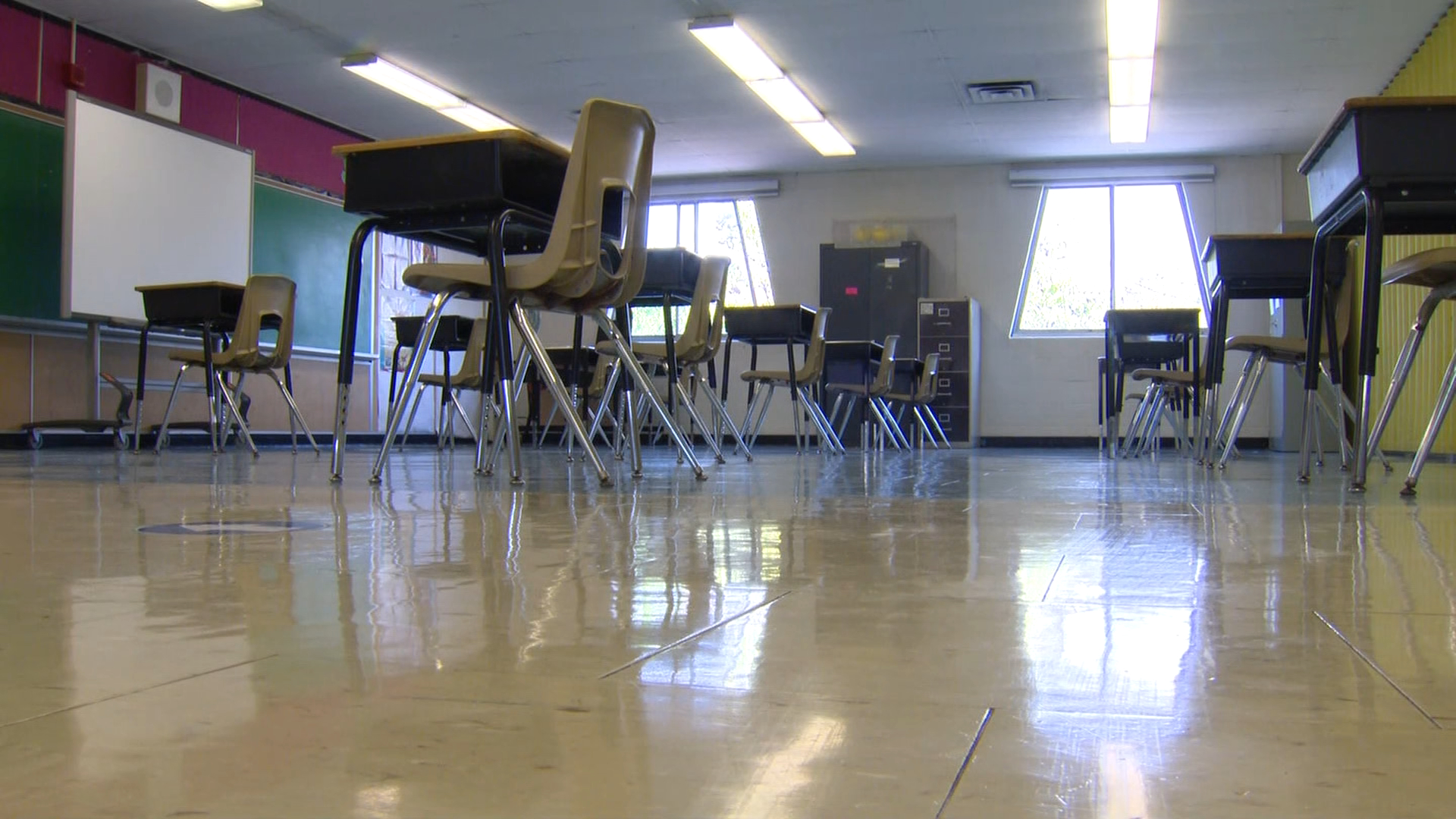 An empty classroom inside Toronto's Kensington Community School